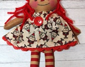 Christmas Holiday Ornament Sized Annie - Primitive Raggedy Ann Dolls (HAFAIR)