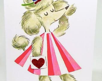 French Poodle Valentine's Day Card