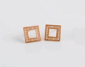 Geometric Minimal Earrings, Rose Gold Diamond Earrings, Minimal Stud Dainty Diamond Earrings, Tiny Earrings, Bridesmaid Earrings 18k Small