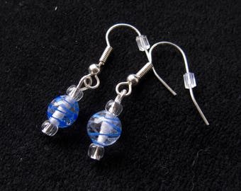 Blue Striped Earrings