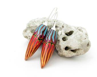 Tropisch, Ohrringe aus polymer clay, Fimo handgefertigte Schmuck -  Unikate