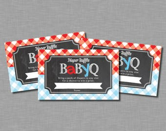 Gender Reveal Baby Q Diaper raffle tickets red blue Cameron GR11 Printable - Instant Download