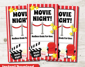 Redbox Gift Card Redbox Gift Tag Movie Gift Basket printable instant download