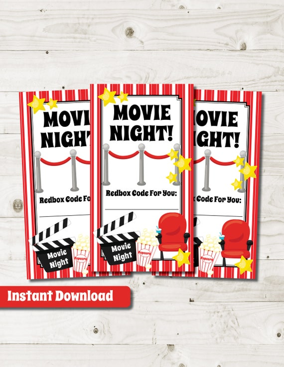 Redbox Gift Card Redbox Gift Tag Movie Gift Basket printable instant ...