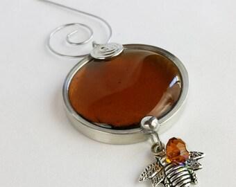 Christmas Ornament, Amber Honey Bee Glass Suncatcher Ornament, Holiday Ornaments, Glass Ornament, Gift under 10, Stocking Stuffer A033