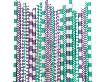 24 Turquoise & Purple Paper Straws // Paper Straws // Mermaid Party // Mermaid Straws // Mermaid Party Decor // Under The Sea Party