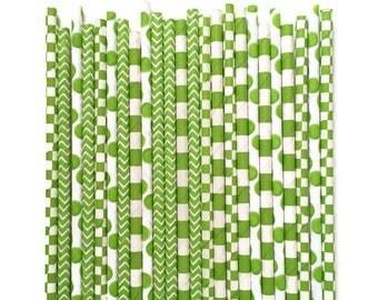 24 Green Paper Straws // Green Straws // Light Green Straws // Light Green Paper Straws // Green Party Decor // Lime Green Straws