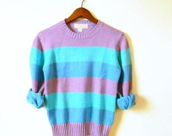 Vintage Blue Rainbow Stripe Sweater / Rad Pullover Sweater / Colorful Striped Sweater / 80s Preppy Stripe Pullover