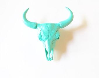 CARRIBEAN BLUE, SMaLL BiSoN Skull Head, Faux Taxidermy, Faux Skull Head, Skull Head, Blue Bison, Faux Animal Head, Blue Skull, Skeleton Head