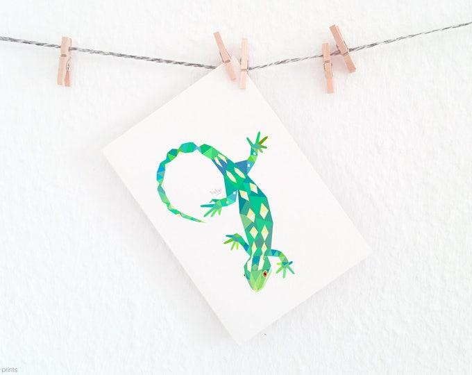 Green lizard, New Zealand gecko print, Geometric lizard, Lizard art, New Zealand fauna art, New Zealand wildlife art, Kiwi art, Kiwiana art