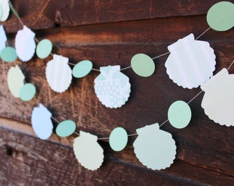 Paper Garland, Seashell Decoration, Mermaid Party, Birthday Party Decorations, Party Decor, 6 feet long