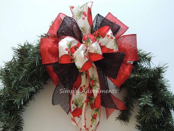 Black Red Christmas Cardinal Bow Whimsical Cardinal Bow Black Red Cardinal Teardrop Swag Bow Cardinal Wreath Door Bow Red Cardinal Gift Bow