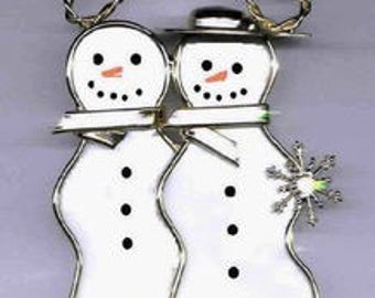 Snowman Sweethearts - Snowman Couple Made from Real Stained Glass - Can be Personalized