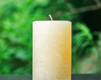 """Rustic Ivory Large 4"""" Wide Pillar Candle - Choose 4"""", 6"""" or 9"""" Tall"""