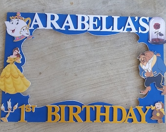 Birthday, Baby Shower, Wedding,Belle Beauty and the Beast or any theme you want Party Photo Prop Frame