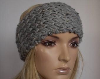 Knit Head Wrap Headband Ear Warmer Gray Tweed Winter