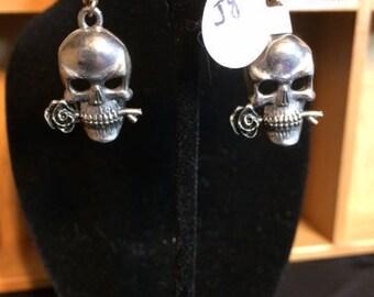 Skull with Rose Earrings Silver