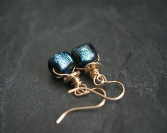 Basha bead earrings, Aqua lampwork earrings, Boho rustic earrings, short dangle earrings, OOAK handmade artisan earrings, GIFT for her