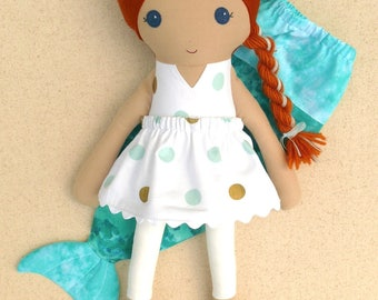 Fabric Doll Rag Doll Red Haired Girl with White, Gold, and Aqua Polka Dotted Dress with Mermaid Tail