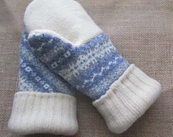Wool Sweater Mittens - Fleece-lined, Recycled, Felted, WARM Sweater Mittens, Medium Women's/Teen's size - Blue Mittens