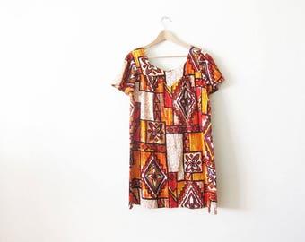 Hawaiian Bark Cloth Dress - Hawaiian Dress - Tiki Dress - 60s Hawaiian Dress - Aloha Dress - Vintage Mumu - 60s Shift Dress - Vacation Dress