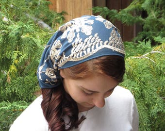 Christian Headcovering SCT42dr - Lace Veil Christian Headcovering with Ties in Dusty Blue with Gold Embroidery