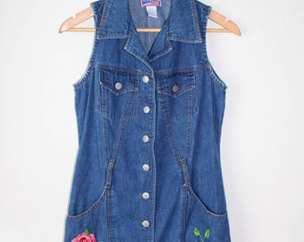 90s Upcycled Clothing Denim Dress | 90s Jean Dress | Floral Embroidered Dress | Hand Embroidery