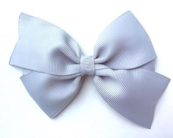 4 inch light gray hair bow - light gray bow, grey bows, silver bows, pinwheel bows, girls hair bows, toddler bows, girls bows, gray bows