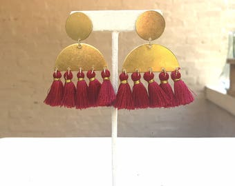 Brass Half Moon and Red Tassel Earrings