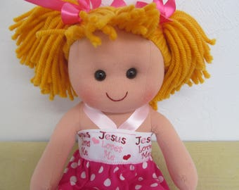 Rag Doll with Jesus Loves Me Dress, Doll Blanket and Doll Panties