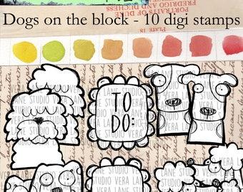 Dogs on the block -- 11 digi stamp bundle