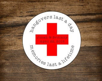 Hangover Kit stickers, set of 20, personalized favor label, bachelorette party favor, bachelor party favor, Memories Last Forever, red cross