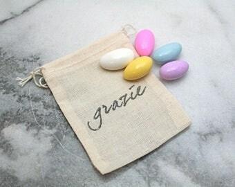 Wedding favor bags, set of 50, Italian wedding Grazie, sugared almonds, Jordan almonds, hand stamped favor bags, cloth favor bags, muslin