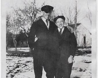 Old Photo 2 Young Men wearing Suits Hats outside in Snow Winter 1920s Photograph Snapshot vintage