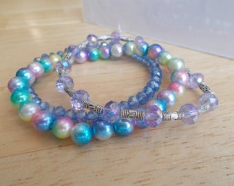 3 Stretch Bangle Bracelet with  Sea Shell Pearls, Crystal Beads and Silver Tone Spacer Beads