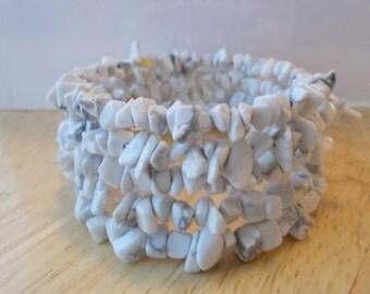 4 Row Memory Wire Cuff Bracelet with Chip Prehnite Gemstone Beads