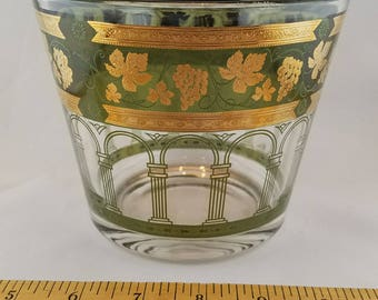 Vintage 1950s Glass Ice Bucket Gold and Green Design