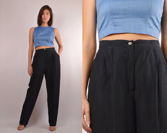 Black Silk Trousers / High Waist Minimalist Vintage