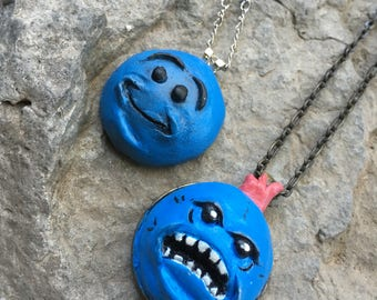 Rick and Morty, Mr. MeeSeeks, Polymer Clay, Pendant, Necklace, kitsch, Adult Swim, Look at Me