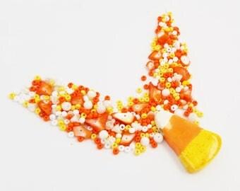 Candy Corn Beads | Orange White Yellow Bead Mix | Halloween Beads | DIY Necklace Kit | Bead Weaving | Jewelry Supplies | Blue Hutch HW109