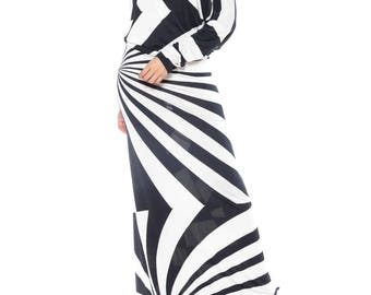 Silk Jersey Black And White Op Art Gown Size: 2-6