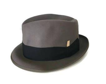 Vintage Dobbs Fedora Charcoal Gray Hat Mid Century 1950's 1960's SZ 7 1//8th