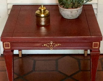Red Side Table Vintage 1950s
