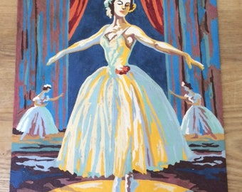 Vintage Kitsch Ballerina Paint By Number, Mid Century, Unframed Dancer Paint by Number