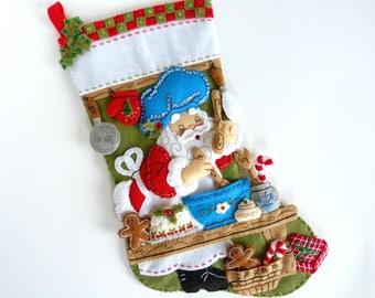 Bucilla Christmas Stocking Personalized Finished Bucilla Stocking Felt Stocking Santa Chef Stocking Family Stocking Christmas Gift