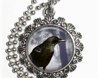 Raven Crow Digital Art Pendant, Black Bird Resin Art Pendant, Photo Pendant