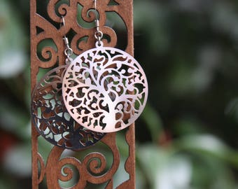 Filigree Tree Stainless Steel Earrings with Surgical Steel Ear Hooks