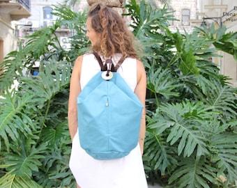 Light Blue Backpack, Canvas Backpack, Rucksack Backpack, Travel backpack, Hipster backpack, Women backpack purse, Mochila Azul