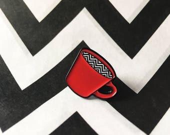 Enamel Pin Badge Twin Peaks Red Coffee Cup Black Lodge Chevron Dougie David Lynch Owl Fan Art