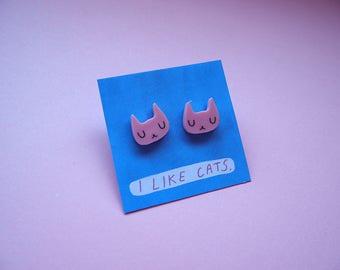 Pink Cat Face Stud Earrings - White Cat Earrings - Pink cats - Earrings - Acrylic earrings - Acrylic jewellery - laser cut jewellery - cat